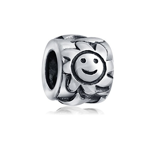 Bling Jewelry Astrological Smiling Sun Celestial Charm Bead .925 Sterling Silver