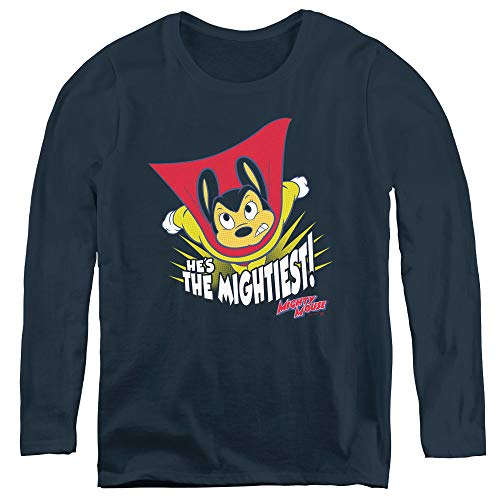 Mighty Mouse The Mightiest Adult Long Sleeve T-Shirt for Women, X-Large Navy