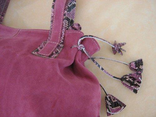 Borsa in pelle scamosciata rosa