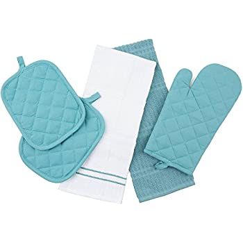 Topaz Kitchen Towel Set 5 Piece   Pot Holders, Oven Mitt And Terry Kitchen  Towels