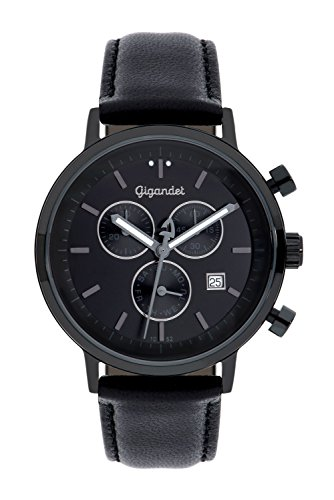 Gigandet Men's/Women's Quartz Watch Classico Chronograph Analog Leather Strap Black G6-007