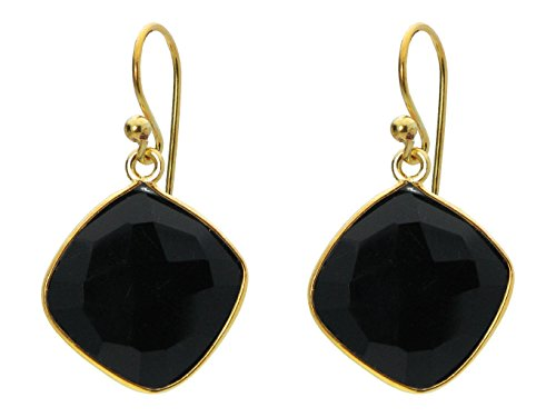 Hematite Onyx Earrings (Fronay Co .925 Sterling Silver Dangling Black Onyx Square Earrings dipped in 18k Gold)