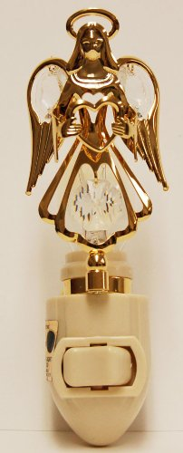 Guardian Angel Holding a Heart in 24K Gold Plated Night Light..... With Clear Swarovski Austrian - Silver Plated Night Light