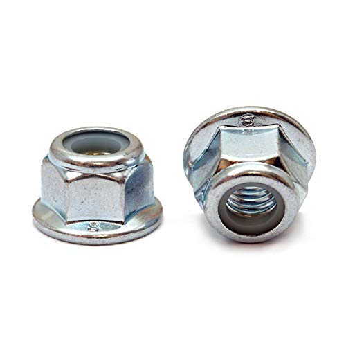 - (10) M6 x 1.00 Zinc Nylon Insert Hex Flange Lock Nuts, Metric Coarse DIN 6926 Class 8 Steel - MonsterBolts (10, M6 x 1.00)
