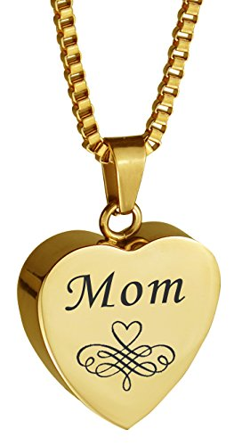 Patterned Urn - Love to Treasure Mom Patterned Gold Heart Urn Pendant - Ash Cremation jewelry with personalized Engraving