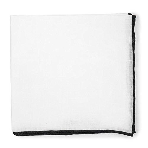 Mens Black Border (The Tie Bar 100% Linen Solid Pocket Square With Rolled Border Black)