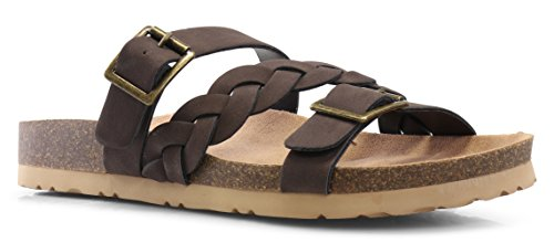 LUSTHAVE Women's Eura Slip On Braided Criss Fross Comfort Slide Buckle Flats Low Cork Platform Sandals Brown 9