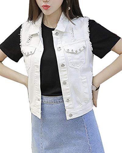 Tasche Elegante Single Breasted Mode Bolawoo Corto Casual Donna Di Cappotto Jeans Marca Gilet Estivi Giovane Smanicato Bavero Anteriori Bianca Strappato 4znqfnPE