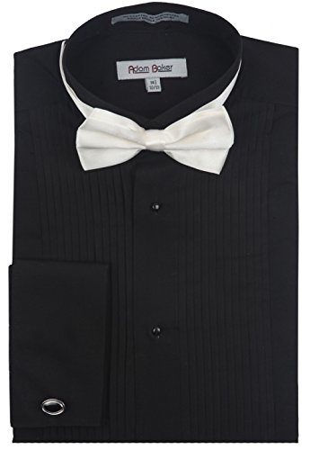 (Adam Baker 1922 Men's Regular Fit Wingtip Collar French Cuff Tuxedo Shirt - Black - 17.5)