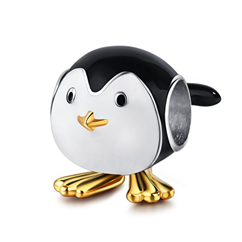 (AMATOLOVE Cute Baby Penguin 925 Sterling Silver Charms Bead Gold Plated Animal Black White Enamel Fits Bracelets Jewelry)