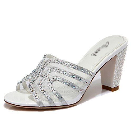 Sandals ZCJB Summer Thick Heel and Slippers High Heel Net Yarn Fashion Outer Wear with Women's Shoes Silver zUw979