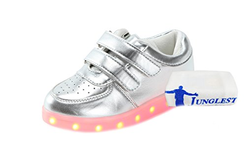 [Presente:pequeña toalla]JUNGLEST® Unisex 7 Colors USB Carga LED Luz Luminosas Flashing Sneakers Altotop Zapatos Zapatillas de Depo c11