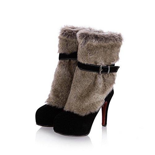 Platform Leather Boots Ladies Stiletto Imitated Buckle Black AdeeSu nYxEH6WW