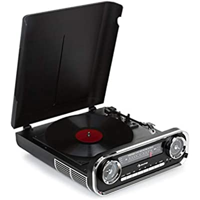 AUNA Challenger Turntable with stereo speaker Record player  Radio  Watt RMS  Bluetooth  USB  AUX IN  33  and RPM  Belt Drive  Retro Design  Black
