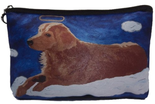 Dog Cosmetic Bag, Zip-top Closer - Taken From My Original Painting, Ginger - Angel Dog ()