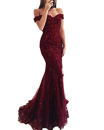 (Ruisha Women Lace Beaded Off Shoulder Formal Prom Evening Dresses Gowns Long Mermaid 2018 RS0046 US 16 Burgundy)