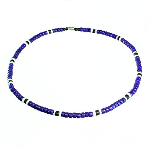 Puka Shell Beads (Purple Coco Bead Hawaiian Surfer Necklace with White Puka Shell and Black Coco Bead Accents, Barrel Lock (16))