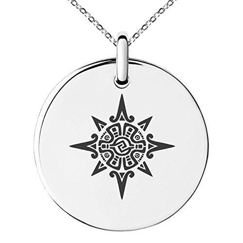 Polish Mayan - Tioneer Stainless Steel Mayan Sun God Rune Symbol Small Medallion Circle Charm Pendant Necklace