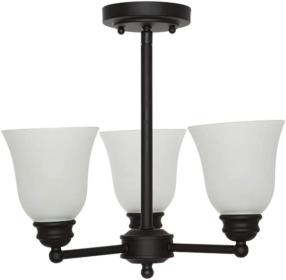 "Amazon Brand – Ravenna Home Classic 3 Light Semi-flush Mount Chandelier, Bulbs Included, 14.5""H, Dark Bronze"