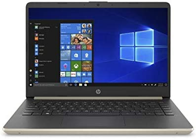 "2020 HP 14"" HD (1366 x 768) Thin and Light Laptop PC, Intel Celeron N4020 Dual-Core Processor, 4GB DDR4 RAM, 64GB eMMC, HDMI, WiFi, Bluetooth, Webcam, Windows 10 S, 1 Year Microsoft 365, Pale Gold"