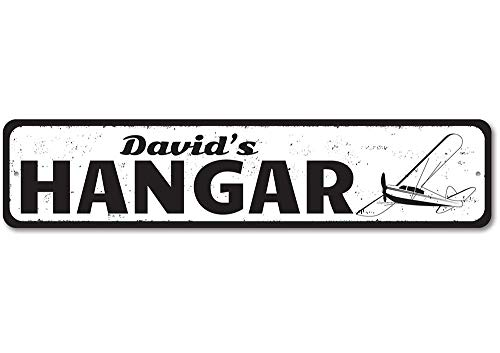 """Hangar Airplane Sign, Personalized Pilot Name Sign, Custom Aviation Sign, Metal Flying Lover Gift, Plane Decor - Quality Aluminum ENSA1001159-6""""x24"""" Quality Aluminum Sign"""