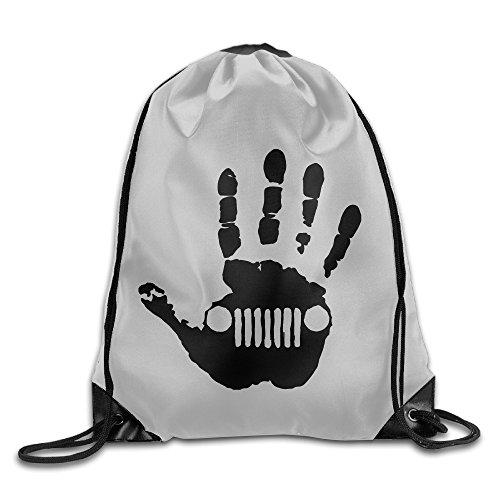 PTCY Jeep Skeleton Handprint Backpack Gymsack Sport Bag White