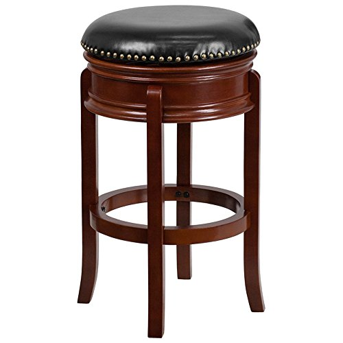 (Offex 29'' High Backless Light Cherry Wood Finish Barstool with Black Leather Swivel Seat)