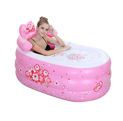 Folding Inflatable Bathtub Portable bath tub shower adult blue comfortable children's inflatable pool home SPA ( Color : Pink , Size : L ) by Sun rain