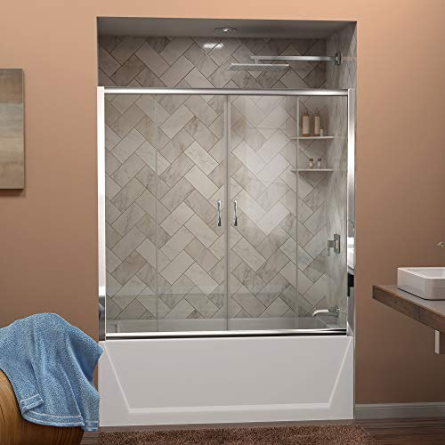 (DreamLine Visions 56-60 in. W x 58 in. H Framed Sliding Tub Door in Chrome, SHDR-1160586-01)