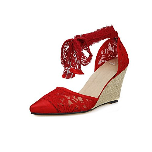 Red Lace Sandals Lace Up Mesh Ladies 1TO9 Y4qE11