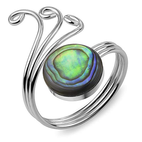 (925 Sterling Silver Natural Green Abalone Shell Wrap around Stacking Band Ring Adjustable Size 6-10)