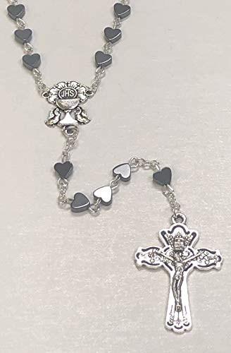 Chalice Center - 6mm First Communion Heart Shaped Black Hematite Rosary Silver Toned Chalice Center
