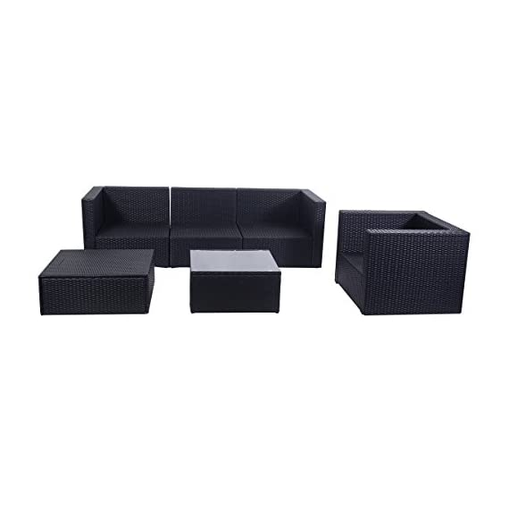"Tangkula Patio Furniture Set 6 Piece Outdoor Lawn Backyard Poolside All Weather PE Wicker Rattan Steel Frame Sectional Cushined Seat Sofa Conversation Set (Black) - 【Sturdy & Durable】The wicker furniture set is made of steel frame and PE wicker. This steel construction ensures sturdy and offers 250 lbs weight capacity. The PE wicker is weather-resistant and last longer than normal wicker. The zippered cushions are made of 180G polyester fabric and sponge. Tempered-glass top coffee table is more safe if suddenly shattered. This wicker furniture will serve your for years. 【Modern & Comfortable】The contemporary outdoor sectional sofa comes with enough space for 4-6 friends comfortable and a table to hold food and drinks. Thickness of cushion is 3.1""(8mm), such thick cushion will bring you and your friends relax. And you can place this set in a variety of ways to fit your living space. There is foot pad in the bottom to prevent for skidding. 【Protection & Installation】As outdoor wicker furniture the wicker parts are weather-resistant, if you can put a cover on this set to keep them in dry and clean condition, this wicker set will last longer. Installation is easy according our manual, after hours you will get a modern set. - patio-furniture, patio, conversation-sets - 41GPcV3TfSL. SS570  -"