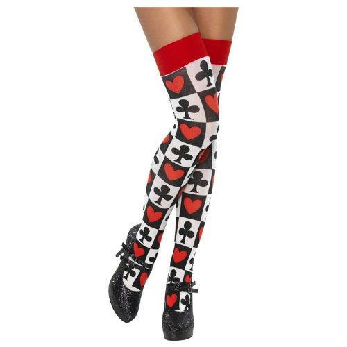 Smiffys Stockings With Poker Pattern, White, Thigh (Poker Stockings)
