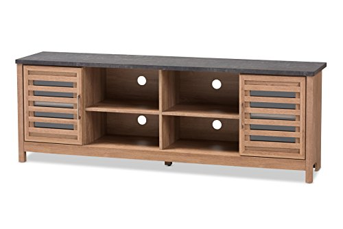 Baxton Studio 424-8018-AMZ Pallavi Wood Television Stand - Light brown and grey two-tone finishing Two slatted doors with clear Glass Two open shelves - tv-stands, living-room-furniture, living-room - 41GPcno6%2BgL -