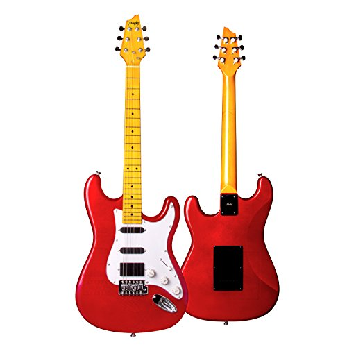 Electric Bass Red Guitar Metallic - Mugig Electric Guitar, 39 Inches, ST Type Bass Guitar, with One 10ft Guitar Cable, Two Single-coil, and One Humbucker Pickups, Glossy Surface Paint, Poplar Body and Maple Fingerboard - Flaming Red