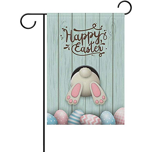 Bunny Mini Flag - Johnnie Easter White Bunny Pink Welcome Garden Flag 12 X 18 Inches, Double Sided Seasonal Outdoor Flag and Best for Party Yard Home Decor