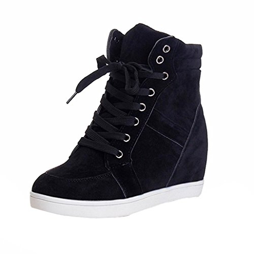 (SUKEQ Women's Autumn Winter Wedge Sneaker, High Top Hidden Heel Round Toe Lace Up Ankle Boots Fashion Booties (8 B(M) US, Black))