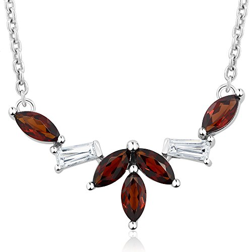 1.00 Cttw 925 Sterling Silver Marquise Cut Red Garnet 1