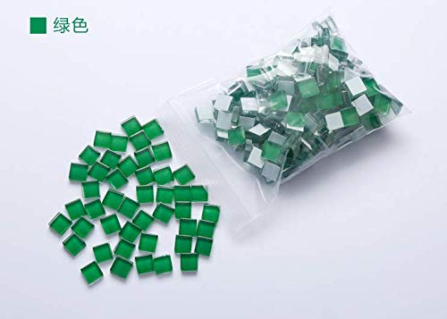 YEZZ Mosaic Supplies 200 Pieces/Square Shape 0.4x0.4 inch Transparent Stained Mosaic Glass Pieces for Home Decoration or DIY Crafts (Green) ()