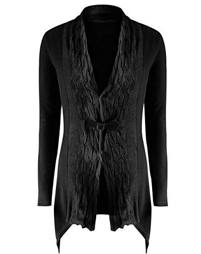 Donna Casual Pullover Invernali Maglia Moda Lunga Unique Cappotto Comodo A Outwear Asimmetrico Giacche Black Pastello Knit Autunno Eleganti Giacca Manica Stlie rqX0XIw