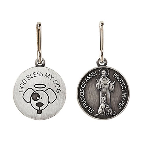 (Silver Toned Saint Francis Protect My Pet Medal with God Bless My Dog Back, 1 Inch)