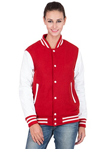 Caliber Apparels White Leather Sleeves & Scarlet Red Wool Body Varsity Jacket-Women X-L by Caliber Apparels