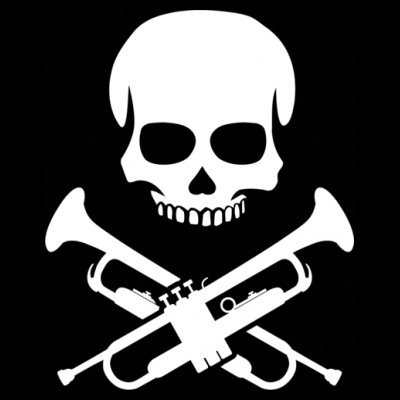 Sudadera con capucha de mujer Trumpeter Skull by Shirtcity Negro