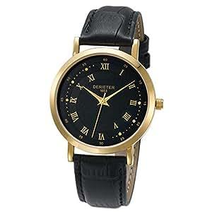 Fashion Men Women Quartz Watch Japan Movement Wristwatch Leather Strap Water Resistant Wrist Watch Roman Numerals (Men Gold Black Black)