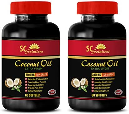 Extra Virgin Coconut Oil softgels – Extra Virgin Coconut Oil 3000 MG – Skin Care Anti Aging – 2 Bottles 120 Softgels