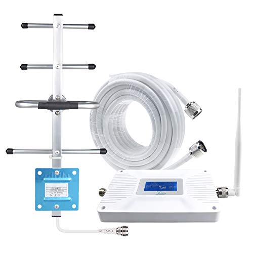 Signal Booster,AT&T Verizon Cell Phone Signal Booster, Dual Bands Mobile Phone Amplifier Repeater 700mhz 4G LTE Band 12/17/13 with LED Screen-White, Supports Multi Users for Home/Office/Countryside-Fu ()