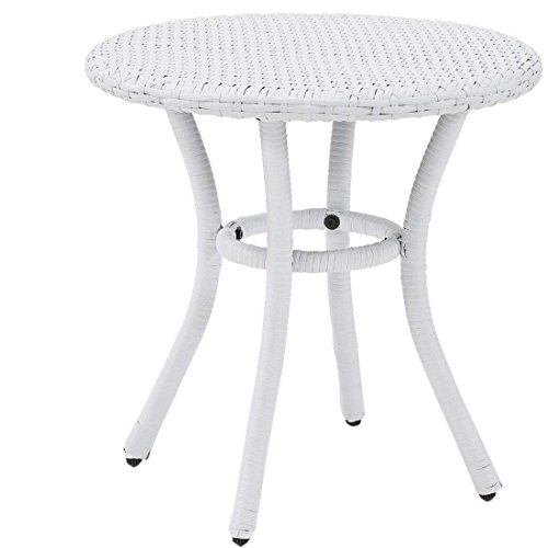 Crosley Furniture Palm Harbor Outdoor Wicker Round Side Table - White by Crosley Furniture