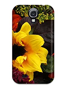 Premium Tpu Fall Flowers Cover Skin For Galaxy S4
