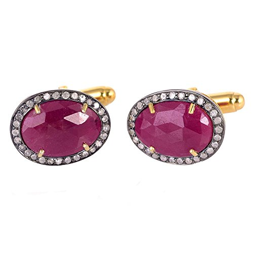 3.65 ct Ruby Pave Diamond 14 kt Gold Cufflinks 925 Sterling Silver Men's Jewelry by Jaipur Handmade Jewelry